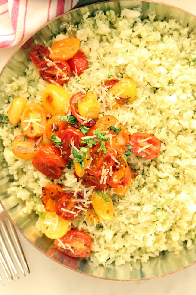 This Pesto Cauliflower Rice comes together in just 20 minutes and makes a delicious healthy side dish to grilled chicken or fish