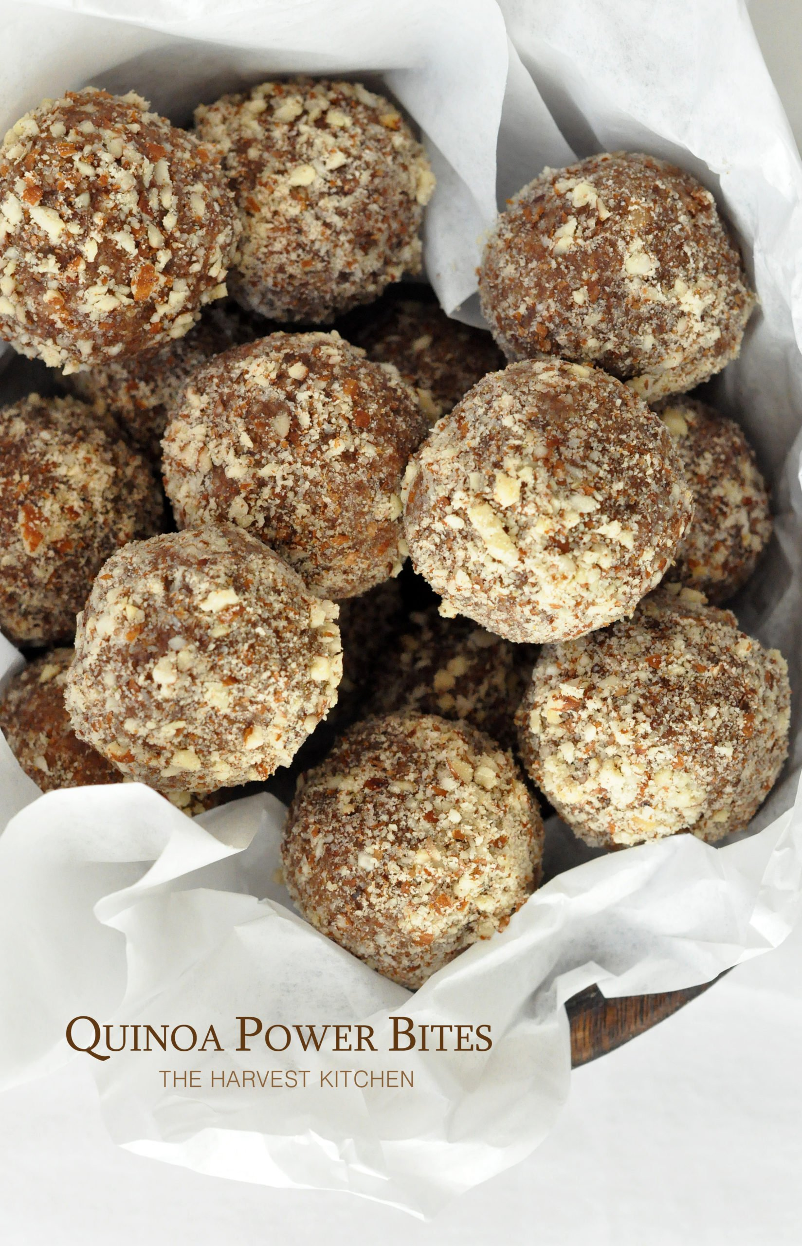 "These Quinoa Power Bites (also called ""energy bites"" and ""energy balls"") are made with quinoa flakes, almond butter, almonds and Medjool dates"