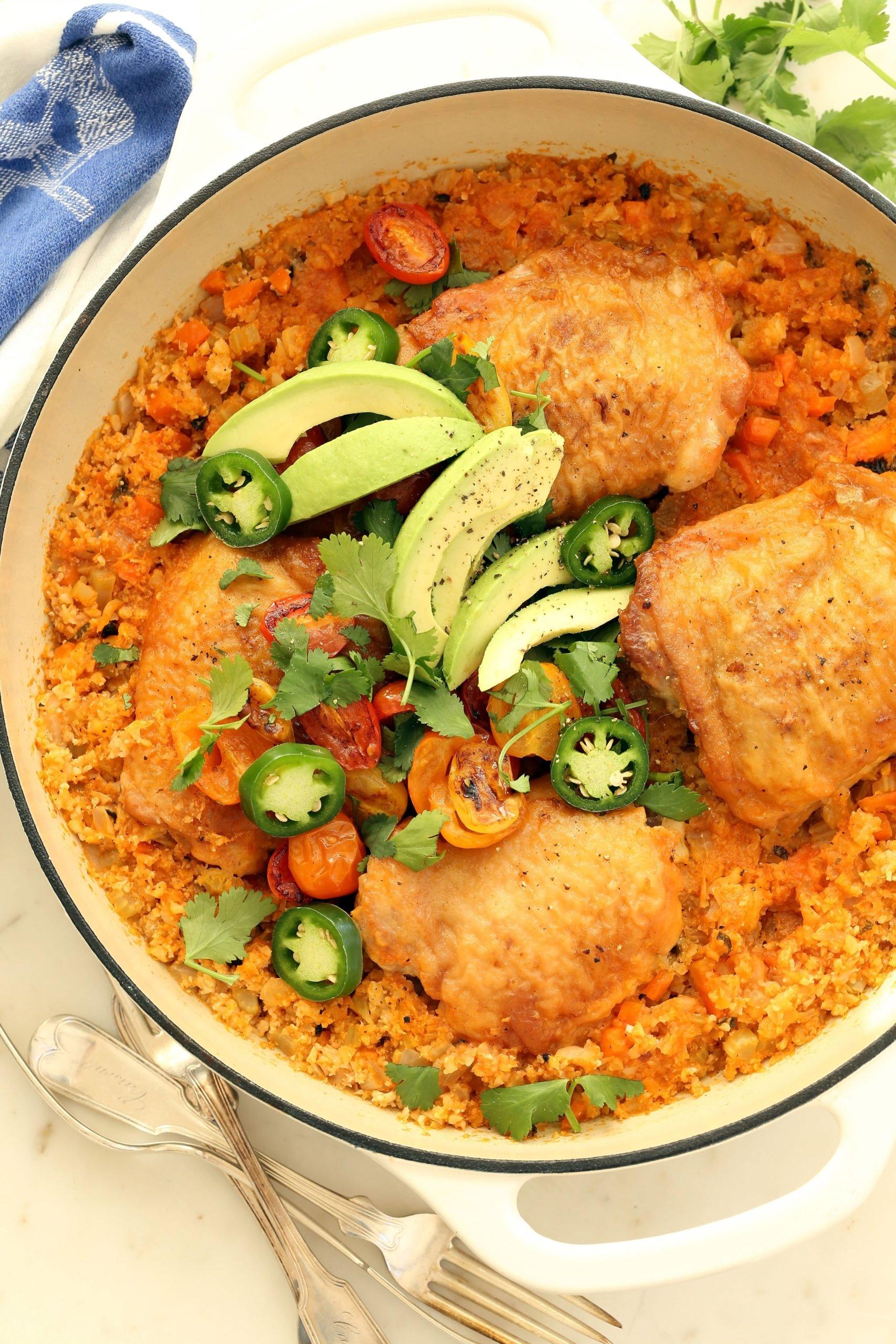 One Pot Chicken and Cauliflower Rice