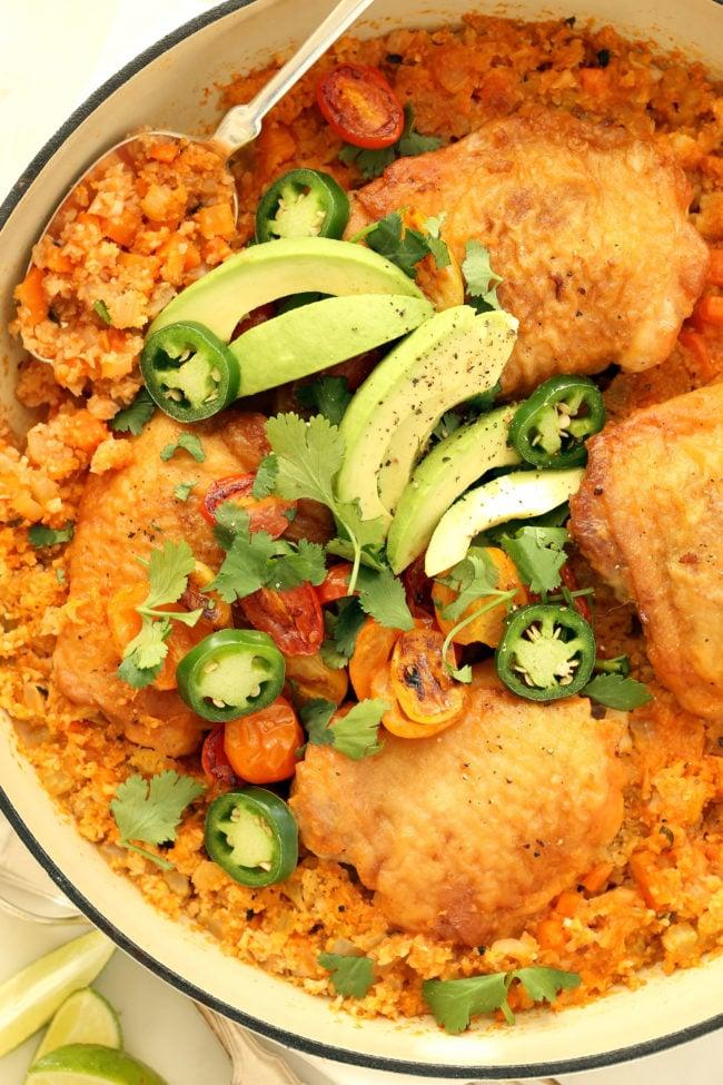 One Pot Spanish Chicken And Cauliflower Rice The Harvest Kitchen