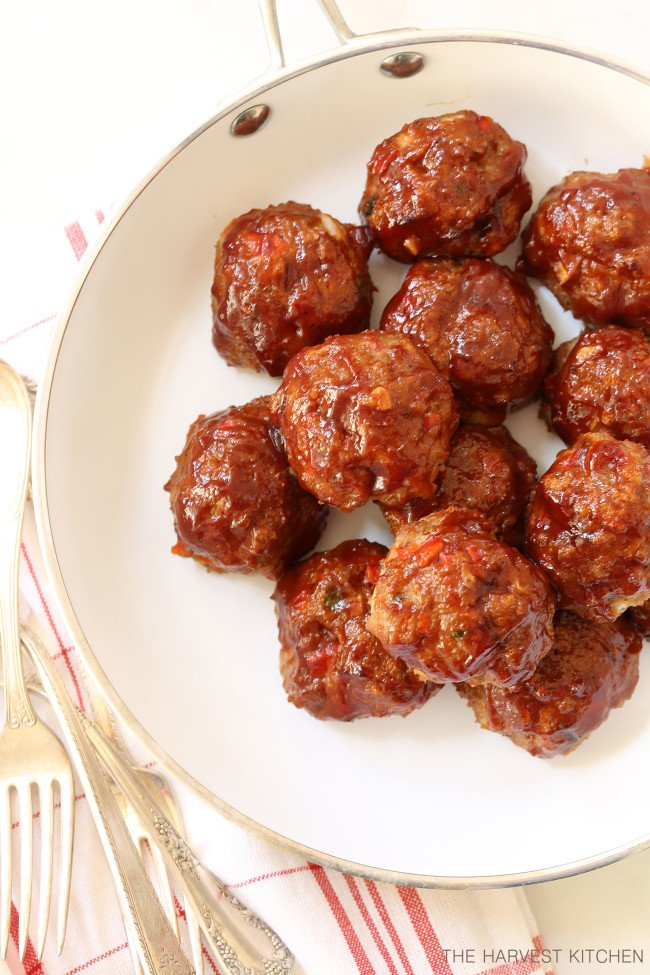 pan of Barbecue Meatloaf Meatballs