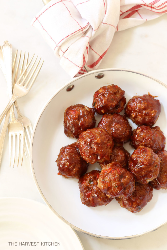 These Barbecue Meatloaf Meatballs are super moist and tender on the inside and have a nice barbecue sauce glaze on the outside
