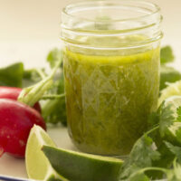 This Cilantro Lime Vinaigrette is made with cilantro, lime juice, pure maple syrup, and olive oil