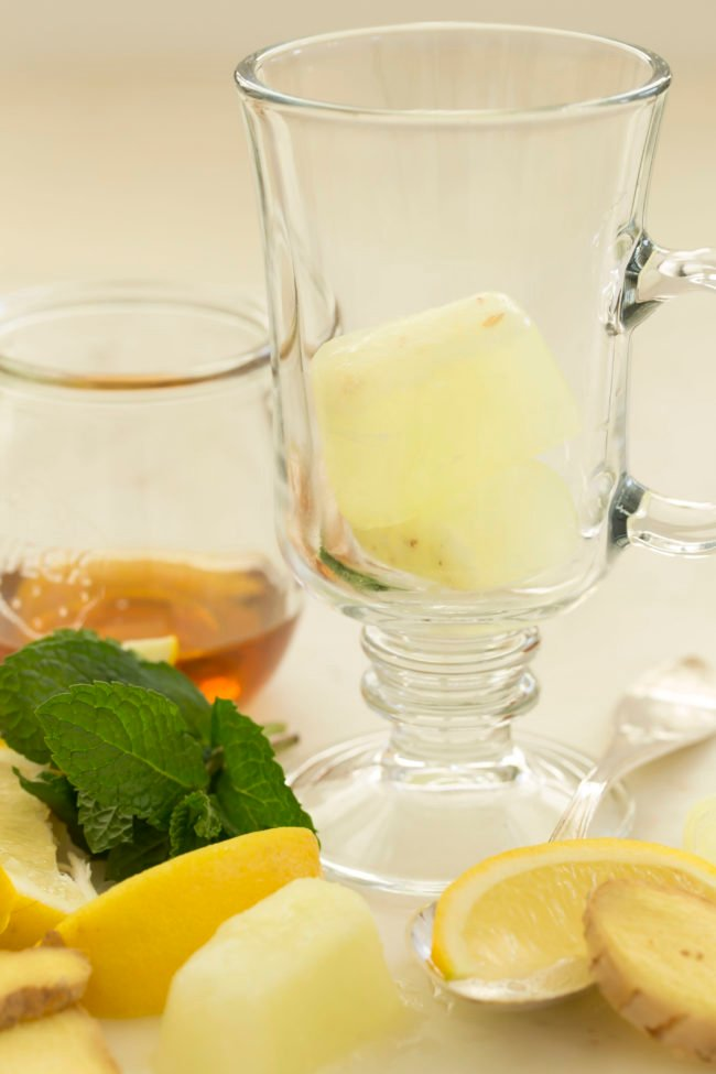 Add these Anti inflammatory Ginger Ice Cubes to a cup of hot water to make ginger tea and to soups and stews for a delicious pop of ginger flavor