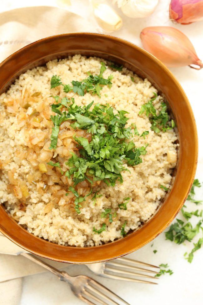 This Vegetarian Caramelized Onion Quinoa is chock-full of flavor, totally satisfying, and it makes a great side dish to grilled chicken or salmon