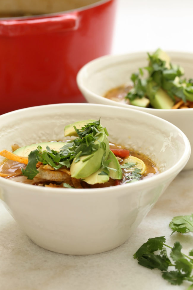 This healthy chicken tortilla soup is cluttered with chopped chicken and fresh vegetables, and it's seasoned with delicious authentic Mexican flavors (cumin, oregano and fresh cilantro) that will have you hooked at first bite!