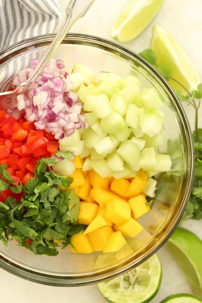 This Mango Salsa features sweet juicy and antioxidant-rich mangoes, cilantro, red pepper, cucumber, red onion and lime juice