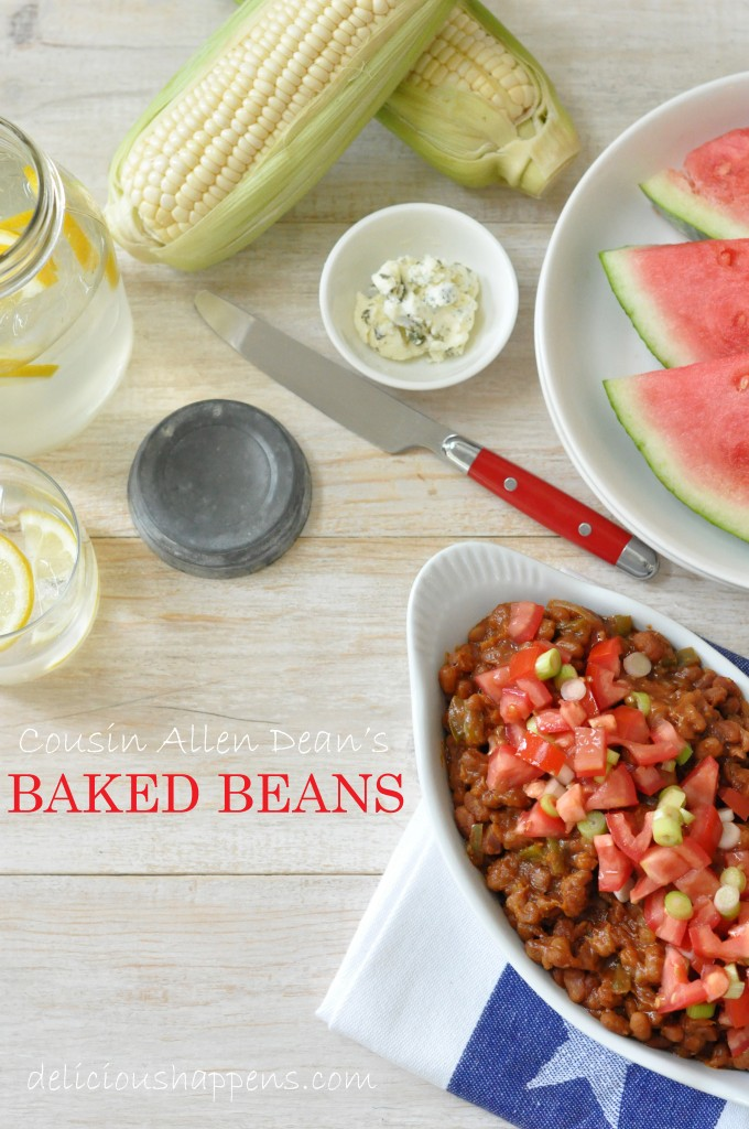 These Vegan Baked Beans are a delicious blend of canned baked beans, onion, bell pepper, barbecue sauce and yellow mustard