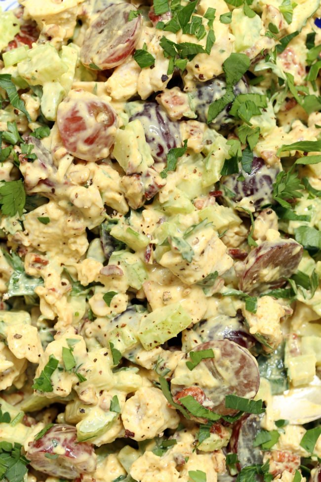 This Curried Chicken Salad with Grapes and Pecans is loaded with tender bites of chicken, celery, sweet grapes and toasted pecans all tossed in a simple curry dressing