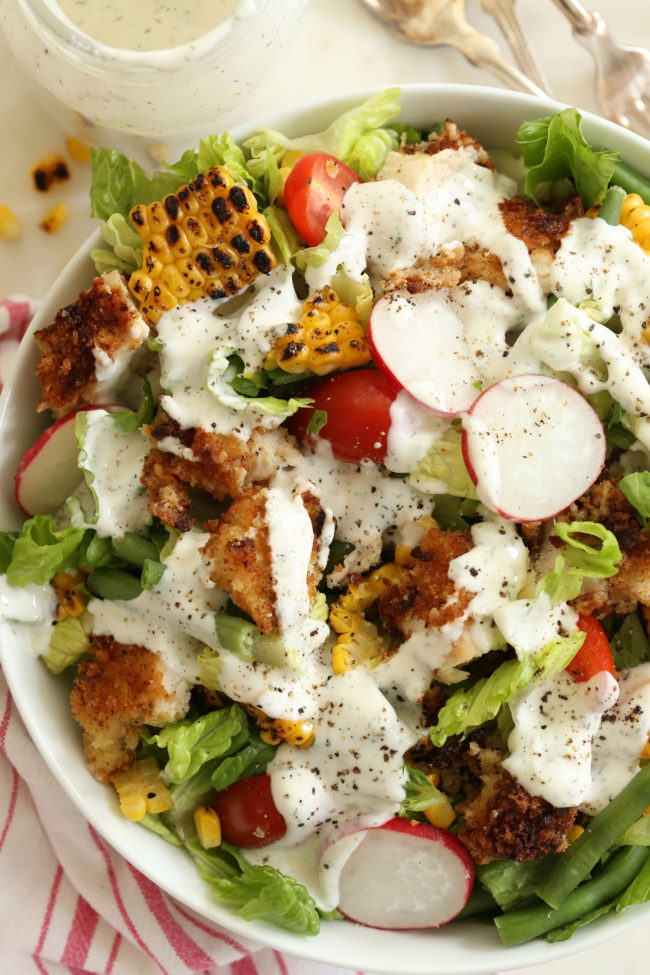 If you're looking for healthy salad ideas for dinner, this amazing Fried Chicken Chopped Salad is the thing