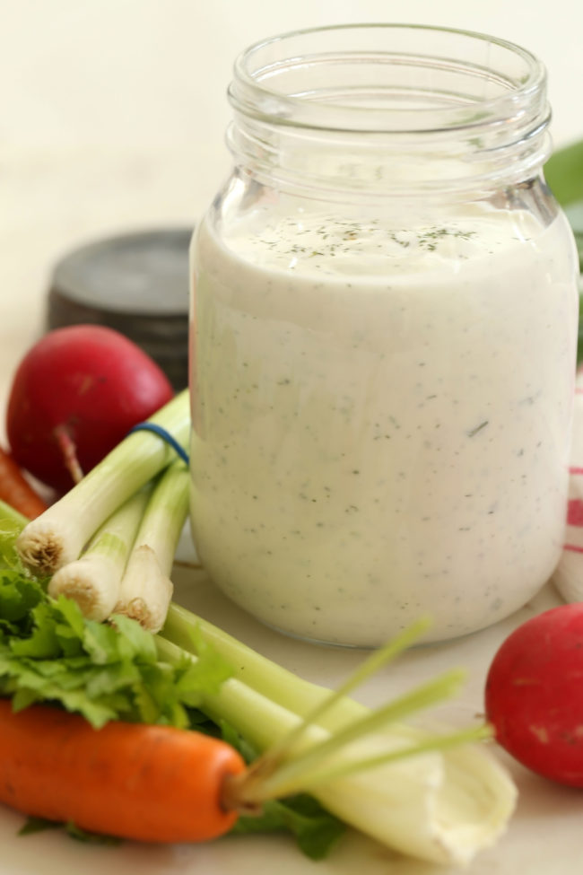 This is the best Homemade Ranch Dressing recipe to serve with your favorite salad ingredients