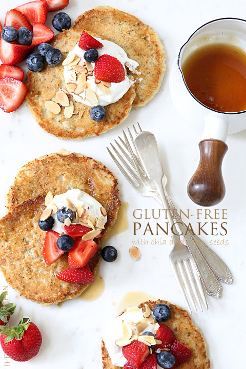 These Gluten-free Pancakes are made with coconut flour, coconut oil, pure maple syrup and chia seeds