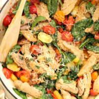 This Easy Italian Chicken Skillet is loaded with fresh ingredients, seasoned with garlic and parmesan cheese, and it comes together in just about 25 minutes