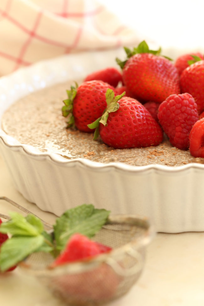 This Dairy-Free Chocolate Chia Seed Pudding is made with chia seeds, hazelnut milk, cocoa and pure maple syrup and comes together in a pinch