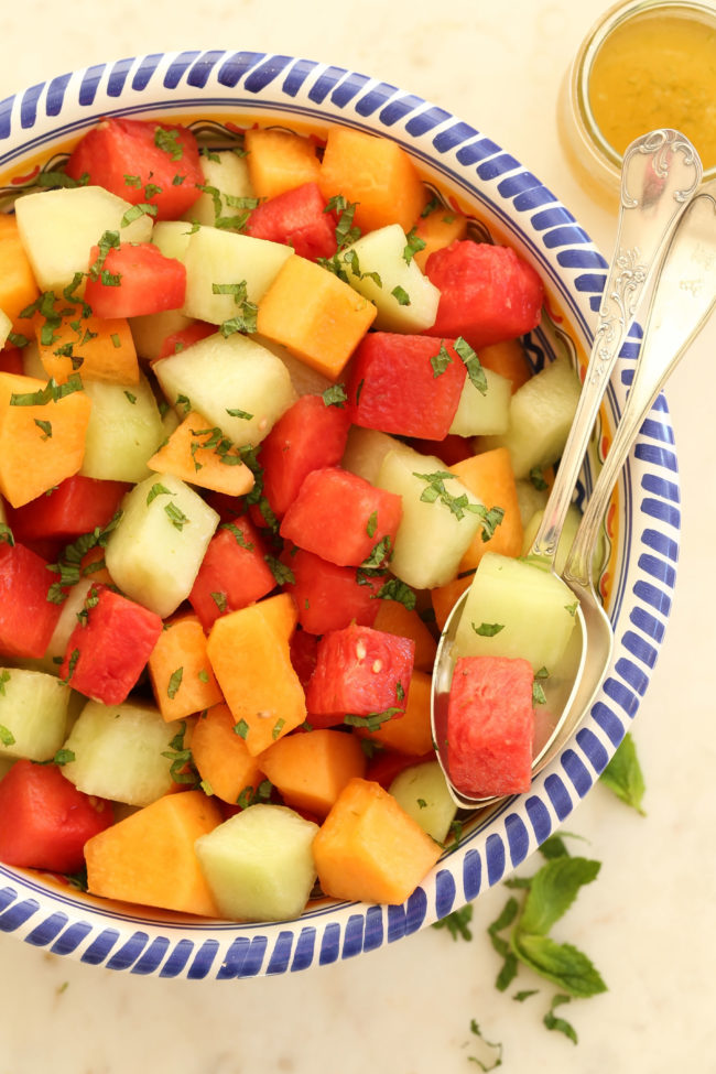 Melon Salad with Honey Lime Dressing is a mix of watermelon, cantaloupe and honeydew