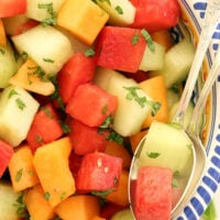 Summer Melon Salad with Honey Lime Dressing is an easy melon salad to make for backyard barbecues and potlucks