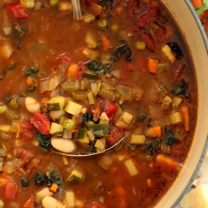 This Easy Minestrone Soup Recipe is so jam-packed with vegetables that it could double as a stew