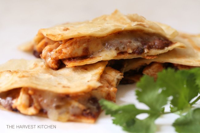 These Barbecue Chicken and Black Bean Quesadillas are quick and easy to make any night of the week