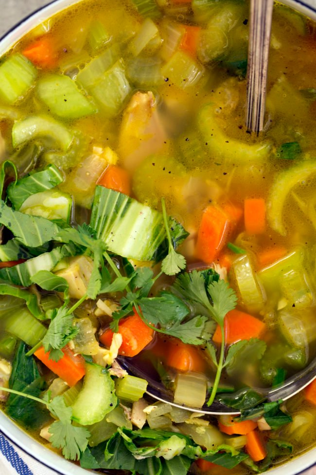 This Immune Boosting Chicken Soup is chock full of carrots, celery, bok choy, onion, garlic, ginger and curry