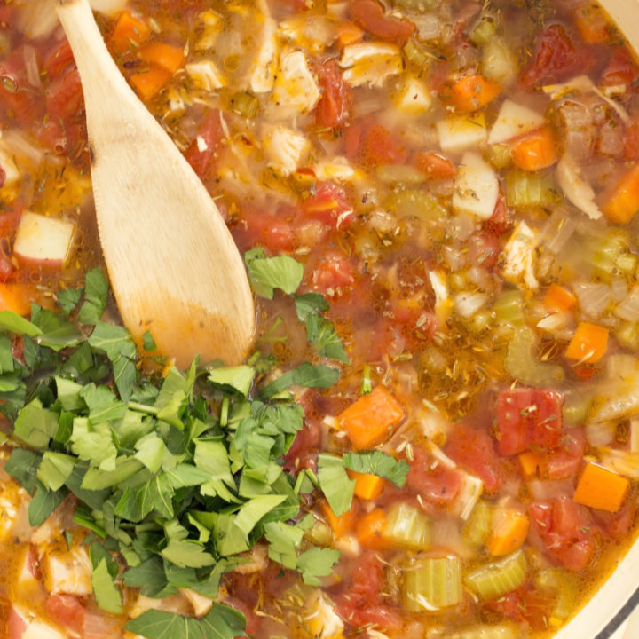 Rich and hearty Italian Chicken Vegetable Soup is packed with Italian flavors