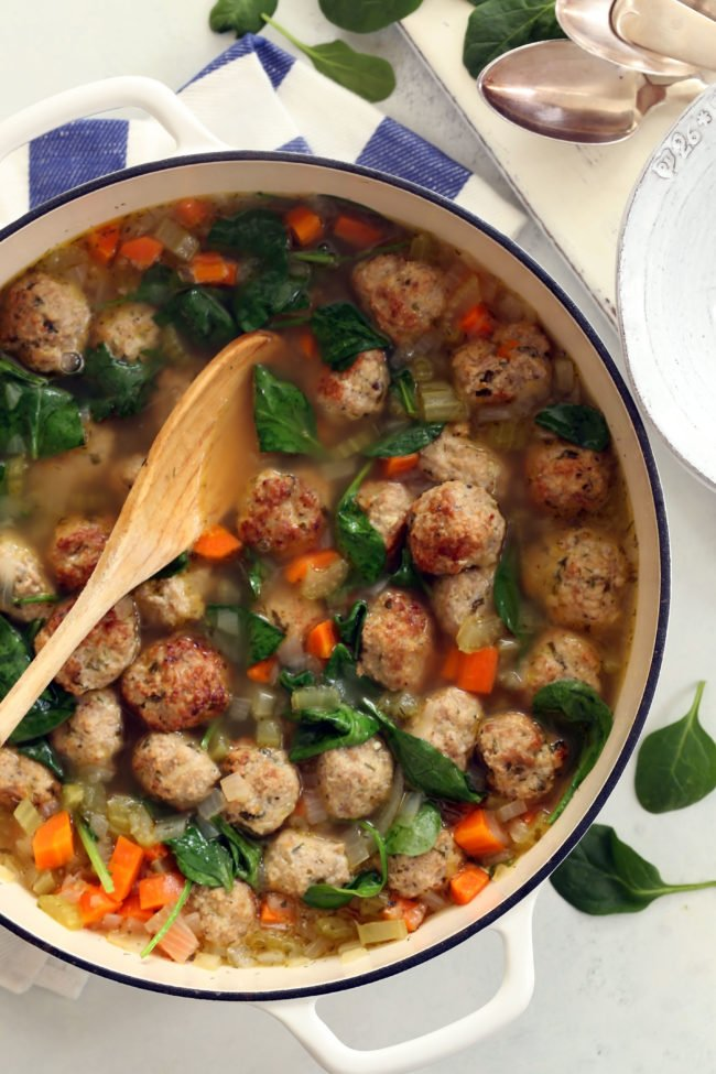 pot of Italian soup with meatballs