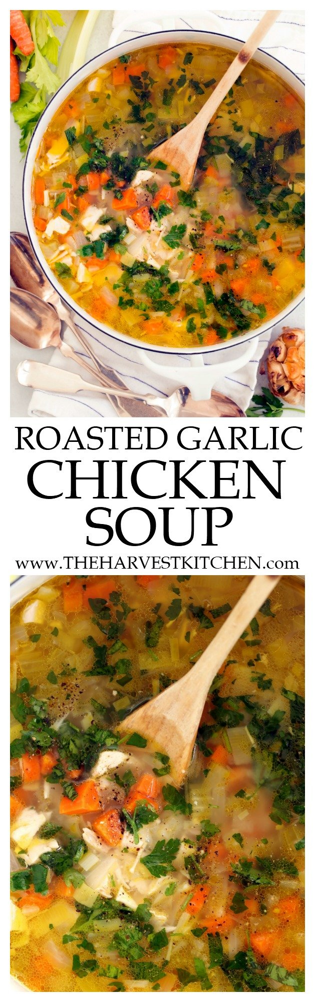 This Roasted Garlic Chicken Soup is loaded with chicken and vegetables all simmered in a delicious roasted garlic broth chicken broth