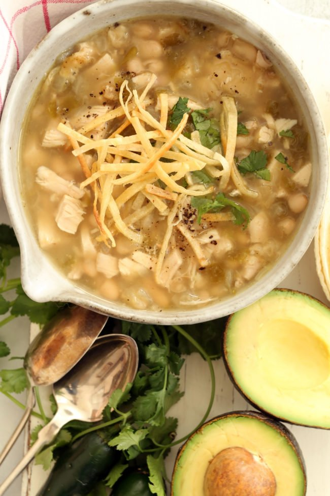 This White Bean Chicken Chili is made with cooked chicken, cannellini beans, canned green chilies, onion garlic and traditional Mexican seasoning