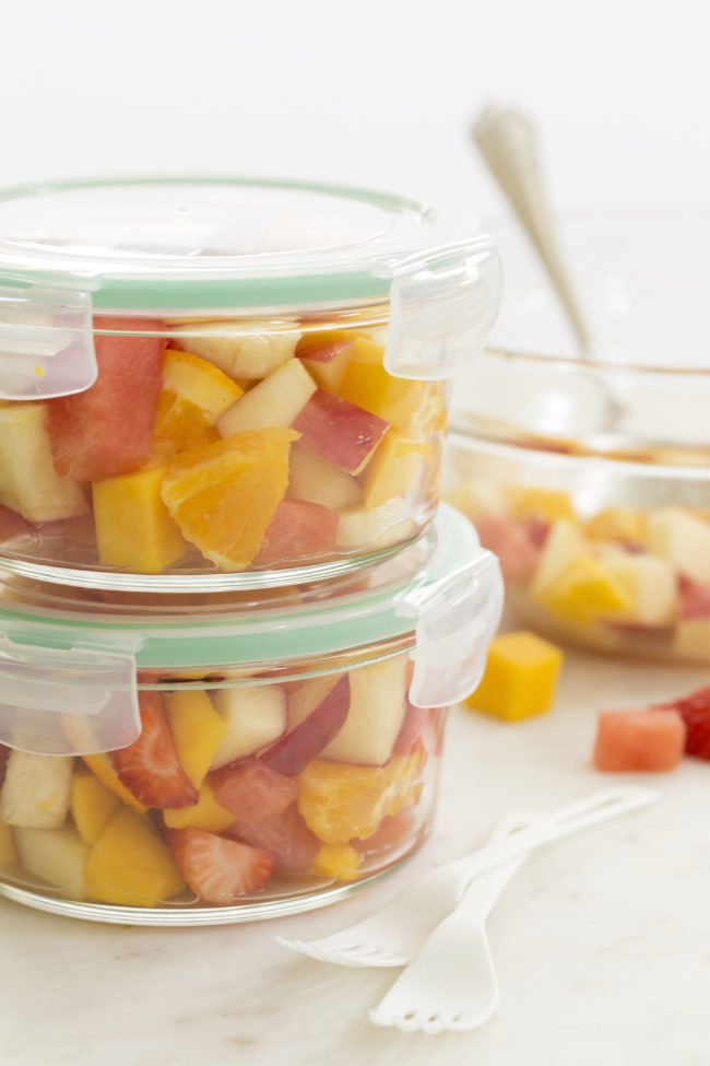 Packable Fruit Salad in a glass container to take to work or school