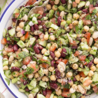 This Mediterranean Bean Salad is crowded with celery, cucumber, onion, tomato, parsley and basil and it's all tossed in a delicious Italian vinaigrette