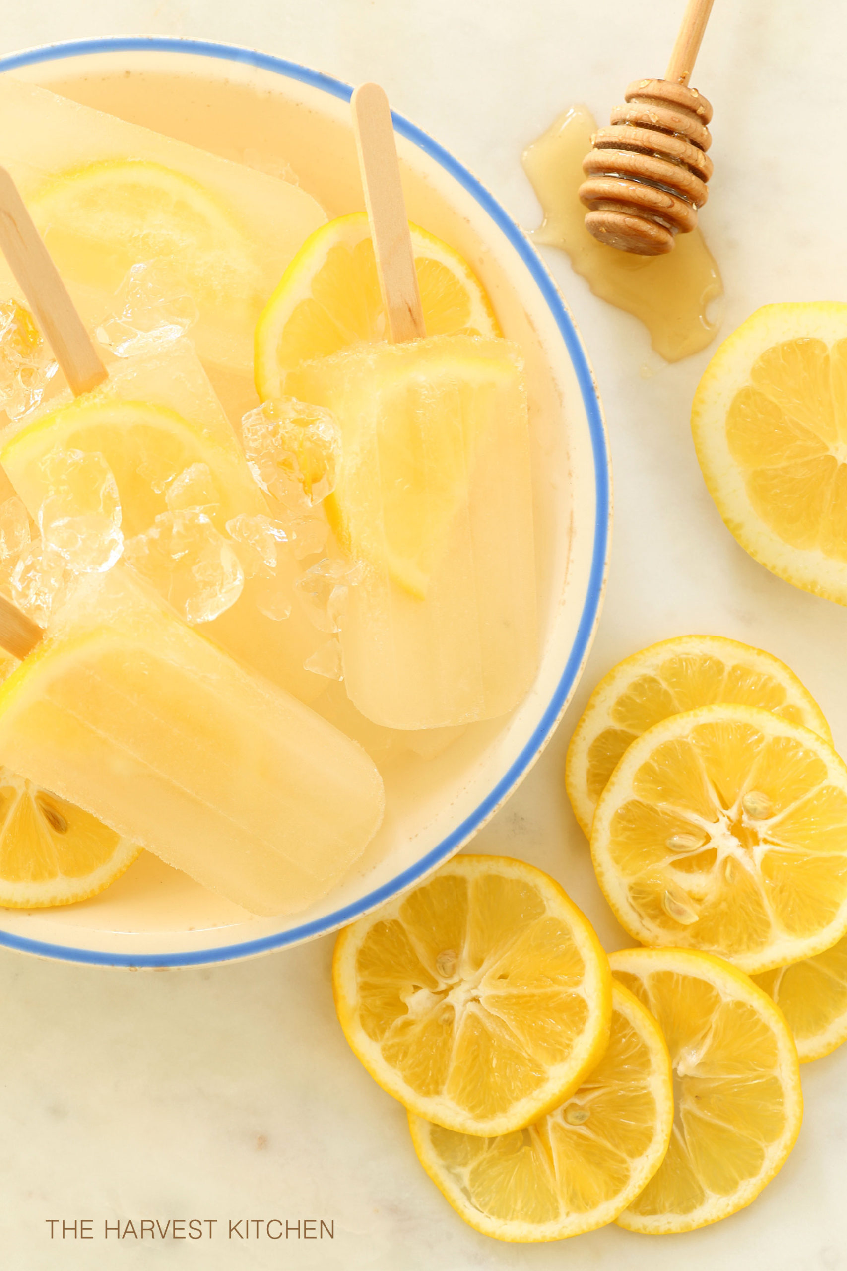 Lemon Ginger Popsicles are made with lemon, ginger, honey and water