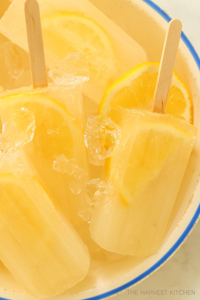 Lemon Ginger Popsicles are made with lemon, ginger, honey and water
