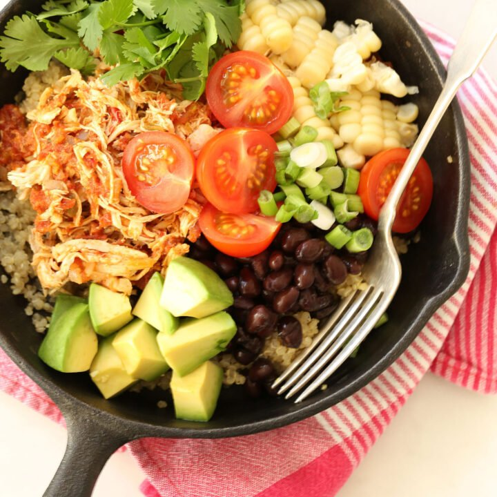 Mexican Style Shredded Chicken is made with chicken breasts, salsa, tomatoes, onion, garlic and authentic Mexican seasonings
