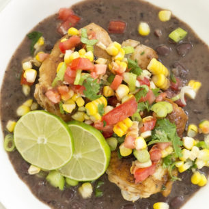 Garlic Chicken with Black Bean Sauce is a delicious mix of marinated chicken served with black bean sauce and then garnished with a simple corn salsa