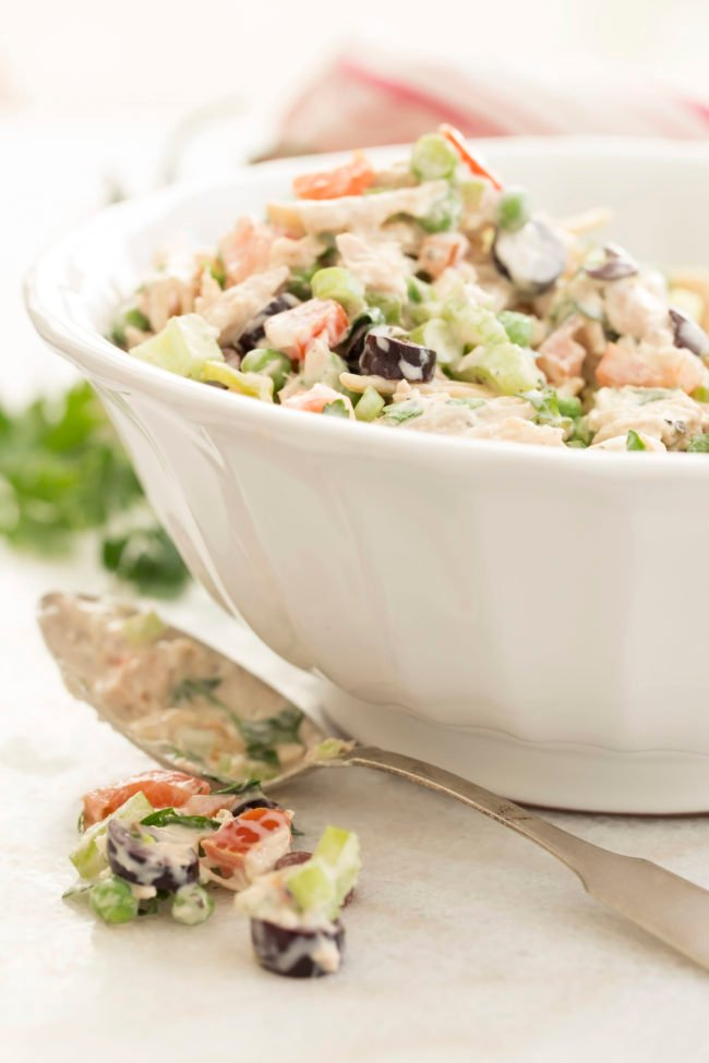 This cold tuna pasta salad with Mediterranean flavors is the Best Tuna Pasta Salad ever
