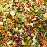 This Crunchy Detox Salad is loaded with broccoli, cauliflower, red cabbage and carrots all tossed in a delicious dressing