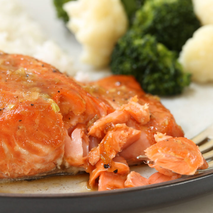 This Orange Teriyaki Glazed Salmon ismarinated in a simple soy and citrus marinade with hints of garlic and ginger