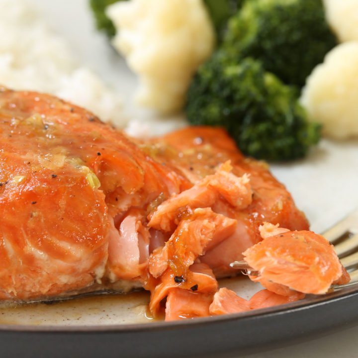 This Orange Teriyaki Glazed Salmon is marinated in a simple soy and citrus marinade with hints of garlic and ginger