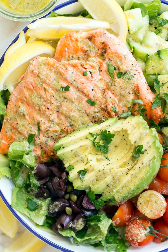 This Grilled Salmon Salad recipe is fresh, healthy and so delicious