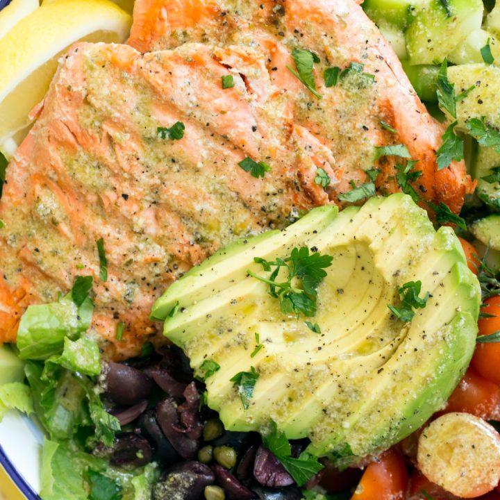 Grilled Salmon Salad With Lemon Caper Vinaigrette The Harvest Kitchen