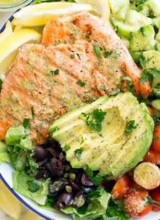 Grilled Salmon Salad with Lemon Caper Vinaigrette