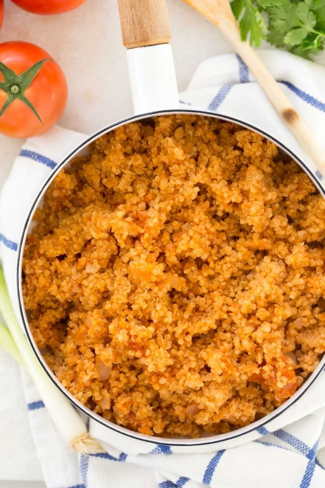 This Spanish Quinoa (also called Mexican Quinoa) makes a perfect quinoa side dish to serve with your favorite Mexican meal