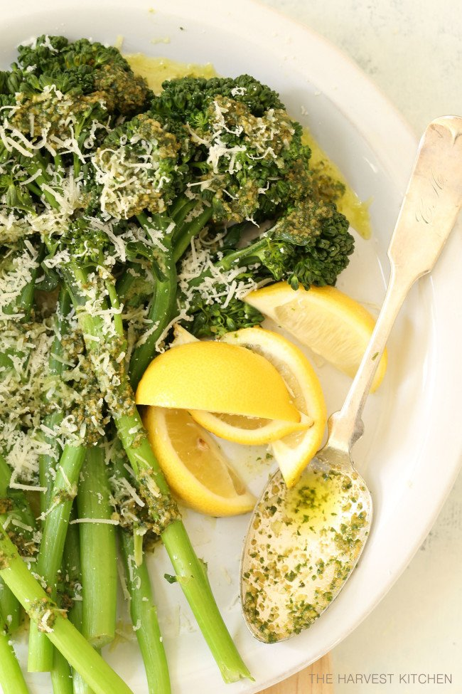 This Basil Pesto Broccoli is healthy and delicious and makes a great side dish that can be thrown together quickly any night of the week