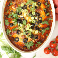 This Enchilada Style Baked Chicken is your basic enchilada chicken casserole just without the tortillas