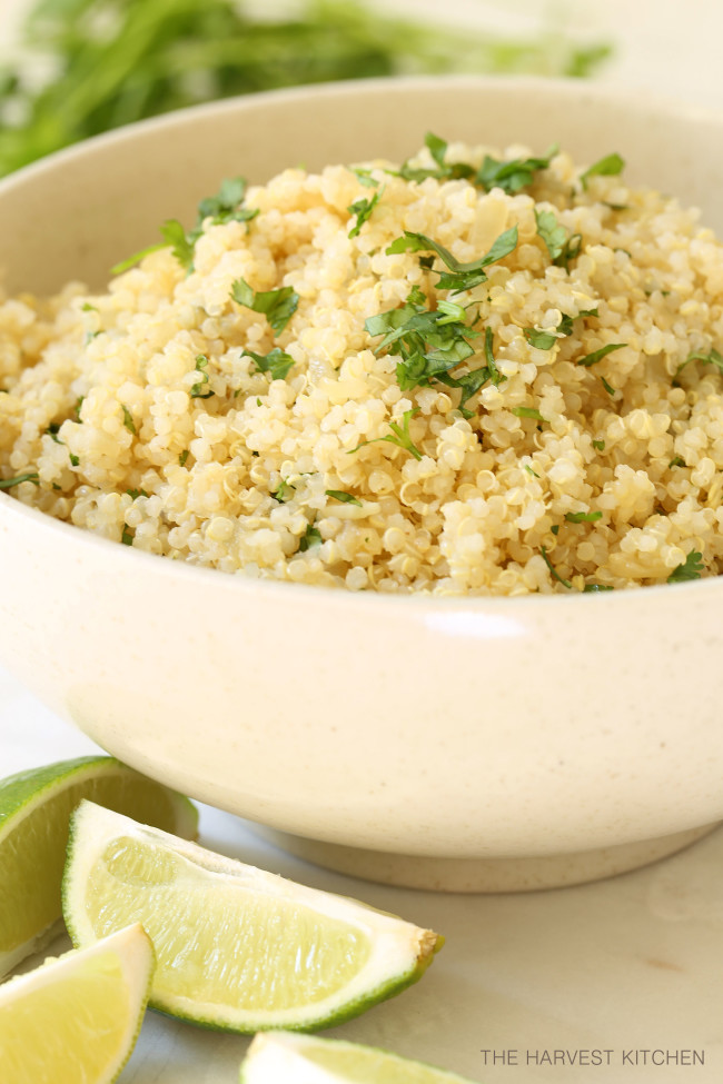 This fluffy Cilantro Lime Quinoa is made with quinoa,onion and garlic, then tossed with fresh lime juice and chopped cilantro