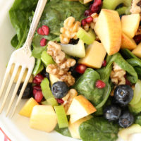 This Spinach Berry Antioxidant Salad is loaded with blueberries, apple and pomegranate seeds