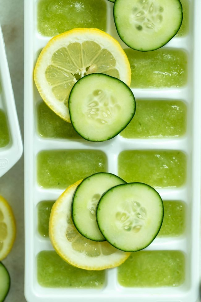 Add these Hydrating Lemon Cucumber Ice Cubes to your water daily for the added nutritional, hydrating and weight-loss benefits