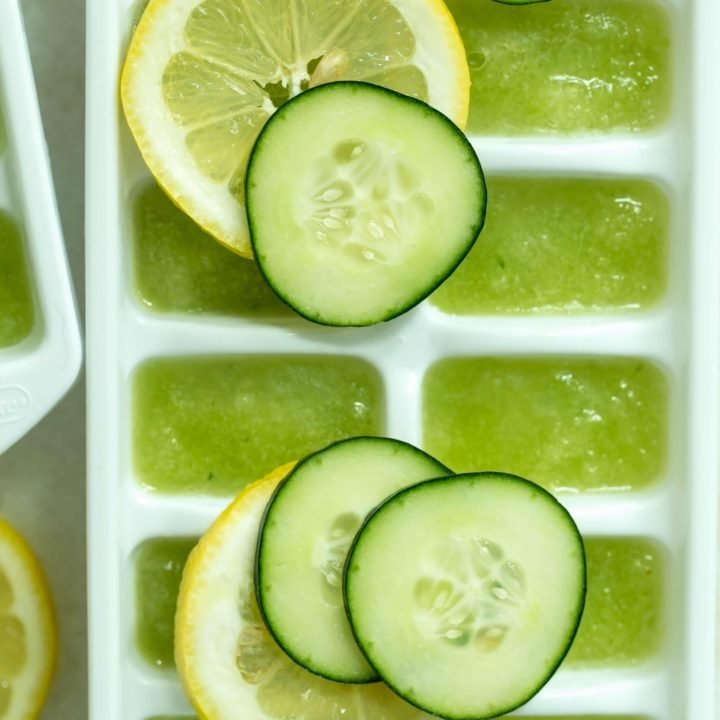 Make spa-like cucumber lemon water (also called cucumber detox water) by adding these Hydrating Lemon Cucumber Ice Cubes to your water daily for the added nutritional, hydrating and weight-loss benefits