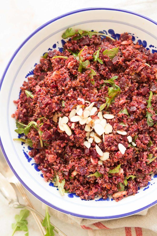 Bowl of quinoa beet salad