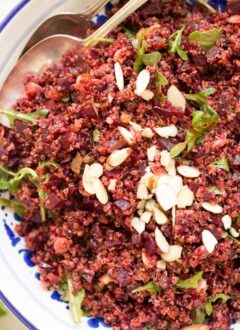 Bowl of quinoa beet salad