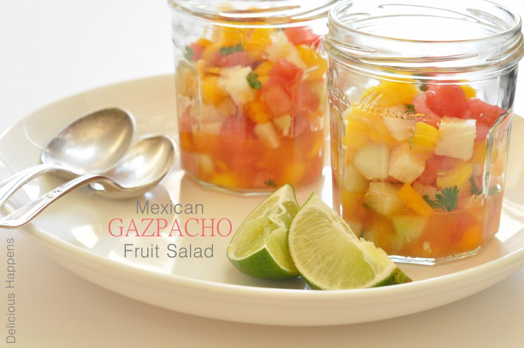 This Mexican Gazpacho Fruit Salad is refreshing and light and it makes a perfect summer fruit salad for barbecues, potlucks and dining al fresco